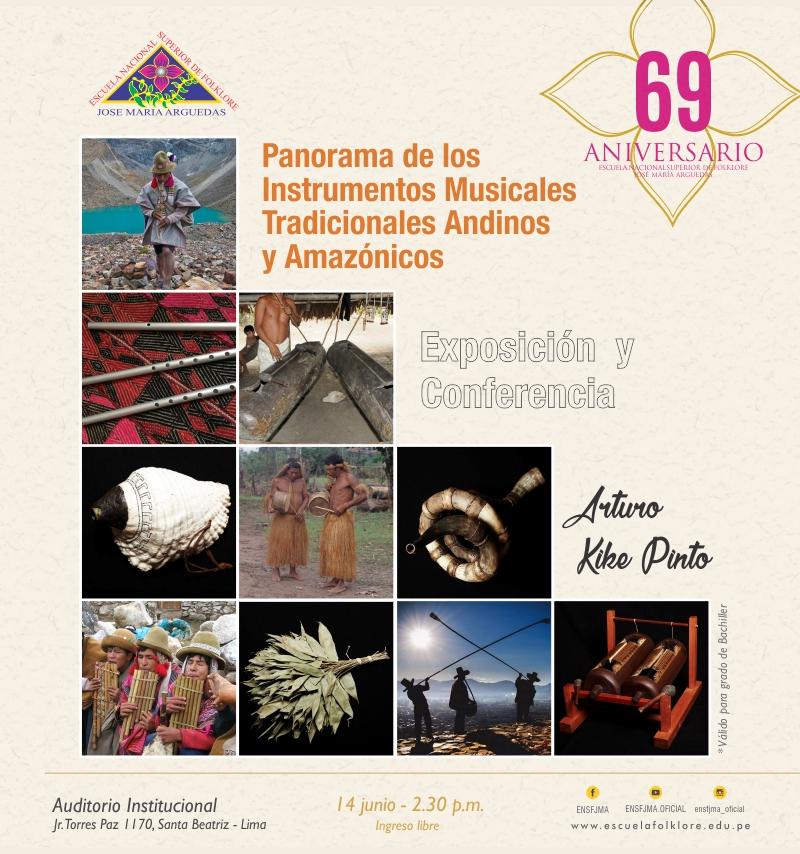 EXPOSICIÓN Y CONFERENCIA:  PANORAMA DE LOS INSTRUMENTOS MUSICALES TRADICIONALES ANDINOS Y AMAZÓNICOS