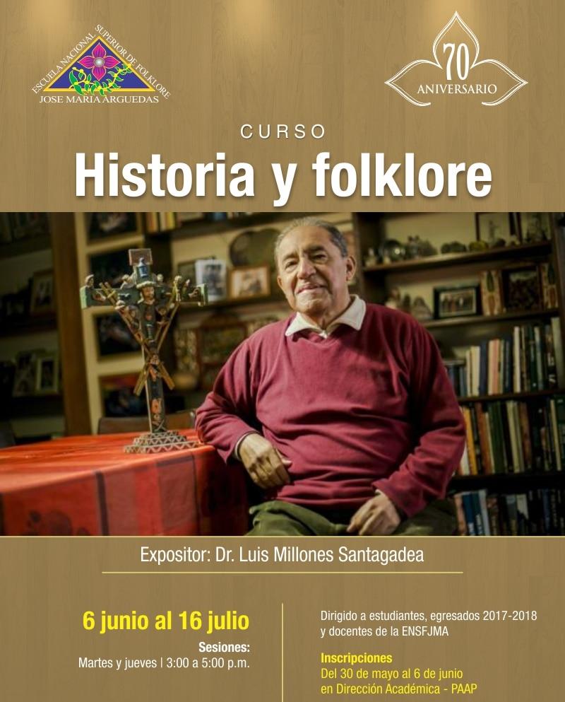 """RECONOCIDO INVESTIGADOR LUIS MILLONES DICTARÁ CURSO """"HISTORIA Y FOLKLORE"""""""