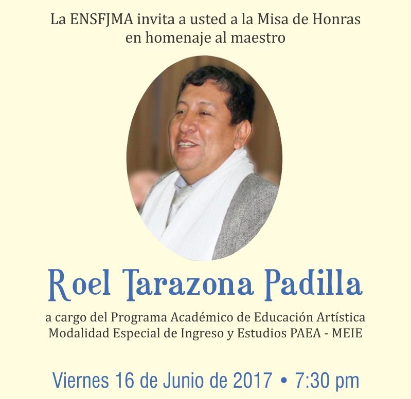 Misa de Honras en homenaje al maestro Roel Tarazona