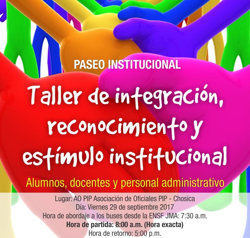 Taller de integración,  reconocimiento y  estímulo institucional