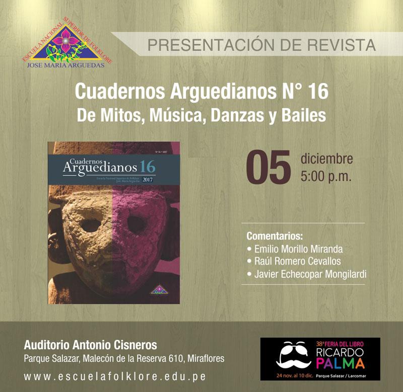 Presentación de revista – Cuadernos Arguedianos N°16