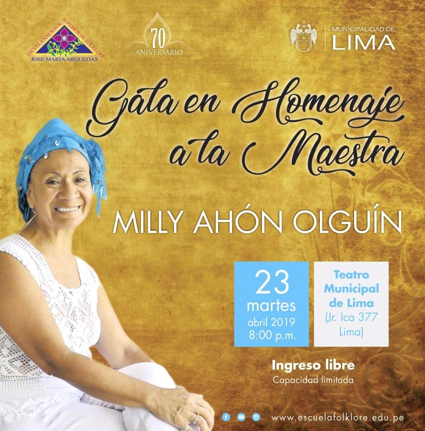 Gala en Homenaje a la Maestra Milly Ahón Olguín