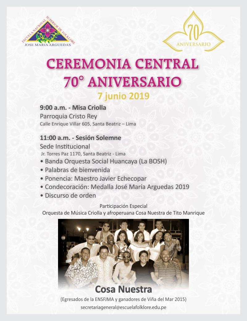 CEREMONIA CENTRAL  70° ANIVERSARIO