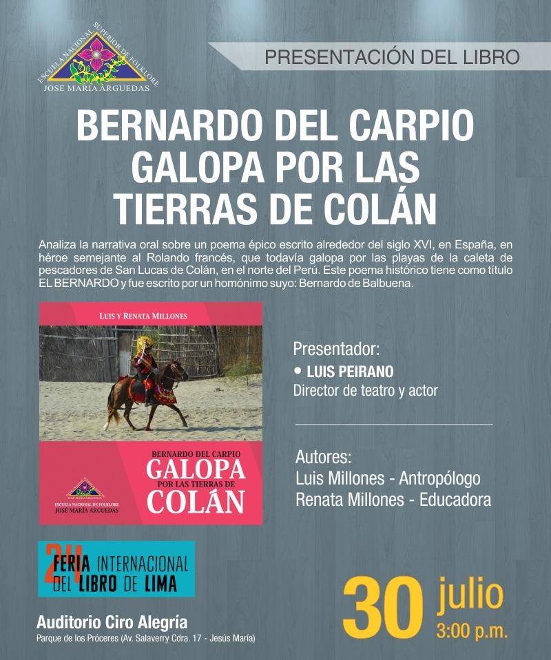 Presentación de libro: BERNARDO DEL CARPIO GALOPA POR LAS TIERRAS DE COLÁN