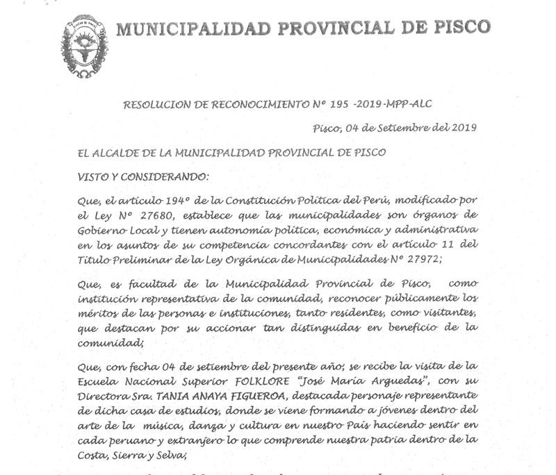 MUNICIPIO DE PISCO ENTREGÓ RECONOCIMIENTO A LA ENSF JOSÉ MARÍA ARGUEDAS