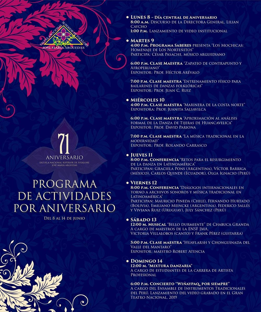 CONMEMORANDO 71 AÑOS DE LABOR POR EL ARTE, LA EDUCACIÓN Y LA CULTURA