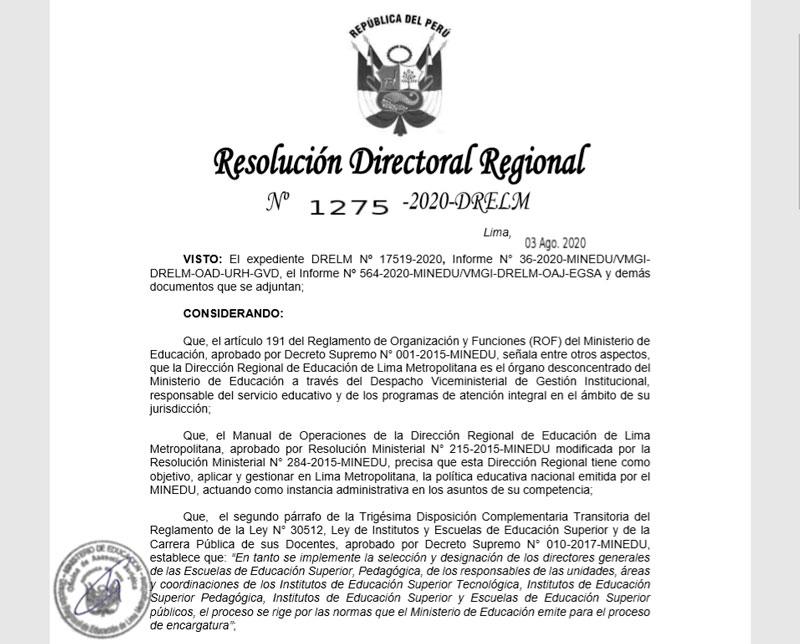 LA DRELM DESIGNÓ A NUEVO DIRECTOR DE LA ENSF JOSÉ MARÍA ARGUEDAS