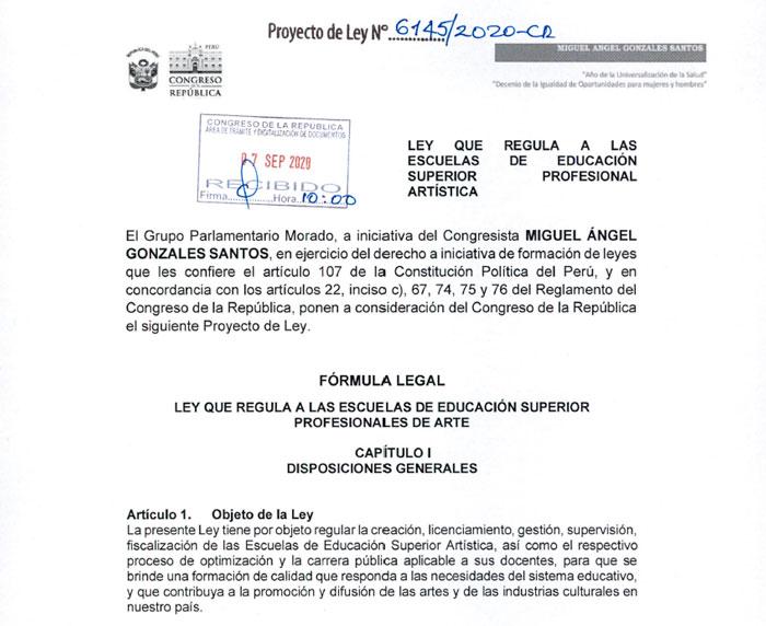 CONGRESISTA GONZALES PRESENTÓ PROYECTO DE LEY SOBRE LAS ESCUELAS DE FORMACIÓN ARTÍSTICA