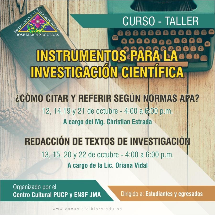 CURSO – TALLER  INSTRUMENTOS PARA LA INVESTIGACIÓN CIENTÍFICA