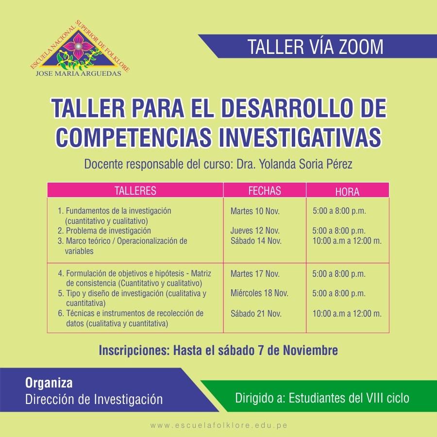 TALLER PARA EL DESARROLLO DE COMPETENCIAS INVESTIGATIVAS