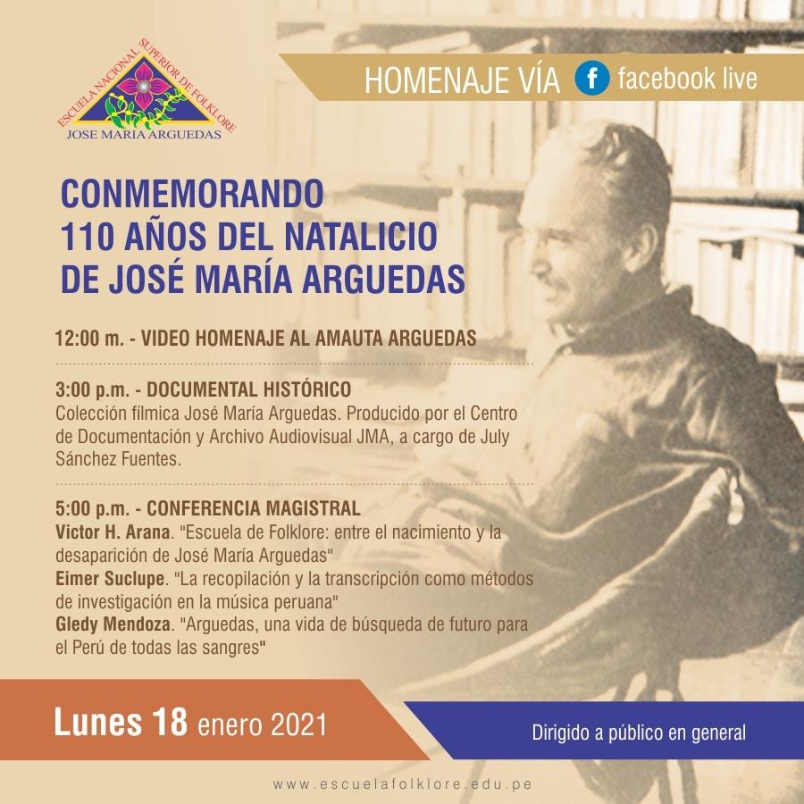 HOMENAJE: CONMEMORANDO 110 AÑOS DEL NATALICIO  DE JOSÉ MARÍA ARGUEDAS