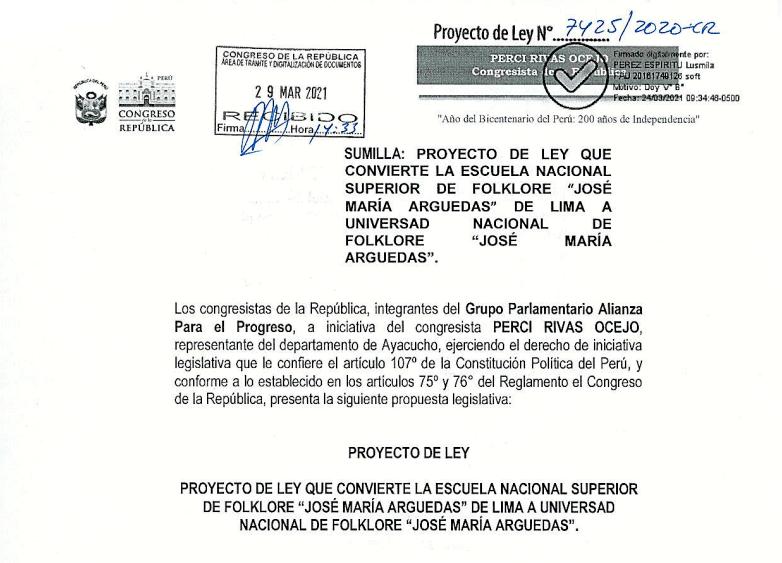 PL PARA LA CREACIÓN DE LA UNIVERSIDAD DE FOLKLORE YA SE ENCUENTRA EN BASE DE DATOS DEL CONGRESO DE LA REPÚBLICA