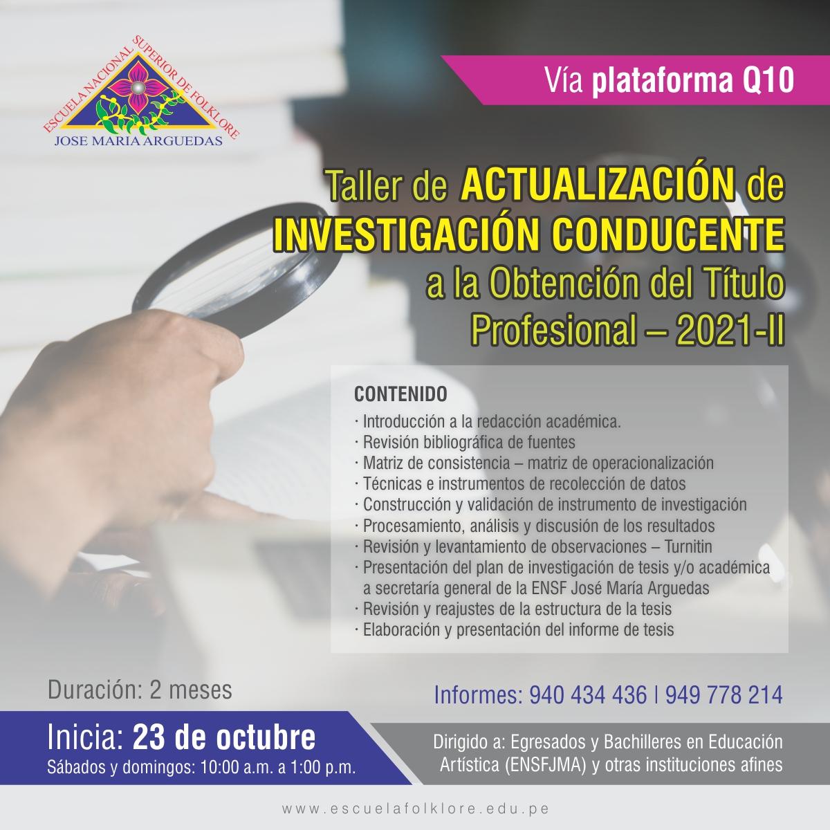 TALLER DE ACTUALIZACIÓN PARA OBTENER TÍTULO